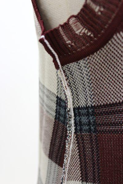 ACNE 【40%OFF】チェック裾ダメージラメノースリーブミニワンピース