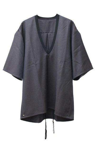 BLESS 【40%OFF】ジャガードチェックVネック5分袖トップス