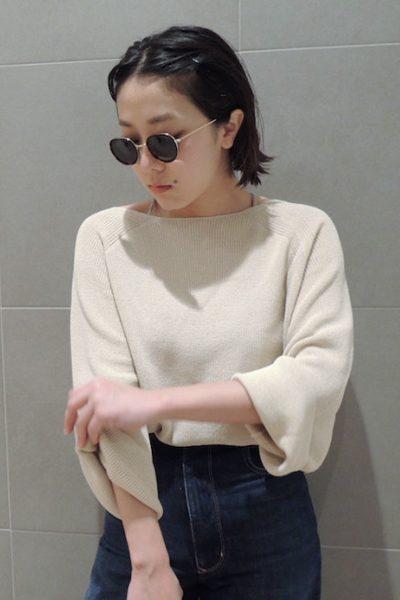 DEMYLEE 【40%OFF】コットンボートネック長袖ショート丈ニット
