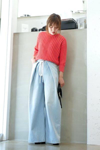 DEMYLEE 【40%OFF】コットンワッフル編みクルーネックニット