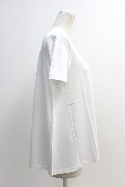 DEMYLEE コットンボートネック裾フレアー半袖カットソー