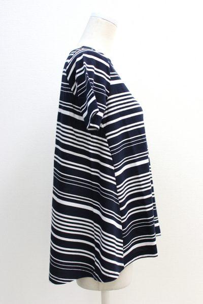 DEMYLEE ランダムボーダー裾フレアー半袖カットソー