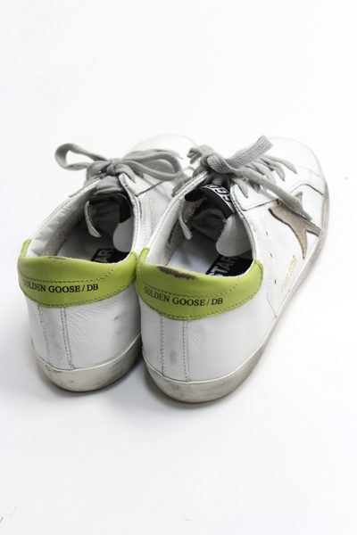 GOLDEN GOOSE DELUXE BRAND バックライトグリーンレザーローカットスニーカー[SUPERSTAR / WHITE/WASABI] (LADIE'S)