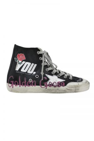 GOLDEN GOOSE DELUXE BRAND ペイントキャンバスハイカットスニーカー[FRANCY / BLACK CANVAS ] (LADIE'S)