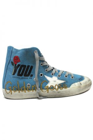 GOLDEN GOOSE DELUXE BRAND 【30%OFF 】ペイントキャンバスハイカットスニーカー[FRANCY / LIGHT BLUE CANVAS /GOLD GLITTER] (LADIE'S)