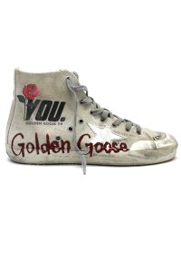 GOLDEN GOOSE DELUXE BRAND ペイントキャンバスハイカットスニーカー[FRANCY / CREAM CANVAS /GLITTER MEMORY] (LADIE'S)