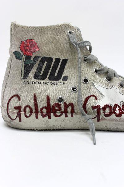 GOLDEN GOOSE DELUXE BRAND ペイントキャンバスハイカットスニーカー[FRANCY / CREAM CANVAS /GLITTER MEMORY] (LADIE'S)