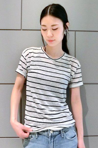 ISABEL MARANT ETOILE 【40%OFF】リネンコットンボーダーVネック半袖カットソー