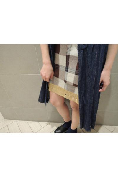 Acne Studios 【40%OFF】チェック裾ダメージラメノースリーブミニワンピース