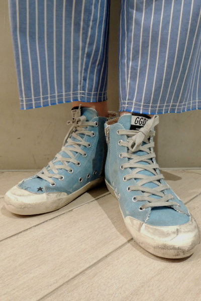 GOLDEN GOOSE DELUXE BRAND ペイントキャンバスハイカットスニーカー[FRANCY / LIGHT BLUE CANVAS /GOLD GLITTER] (LADIE'S)