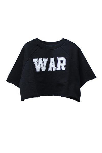 OFF-WHITE 【50%OFF】WAR 五分袖ショート丈スウェットトップス