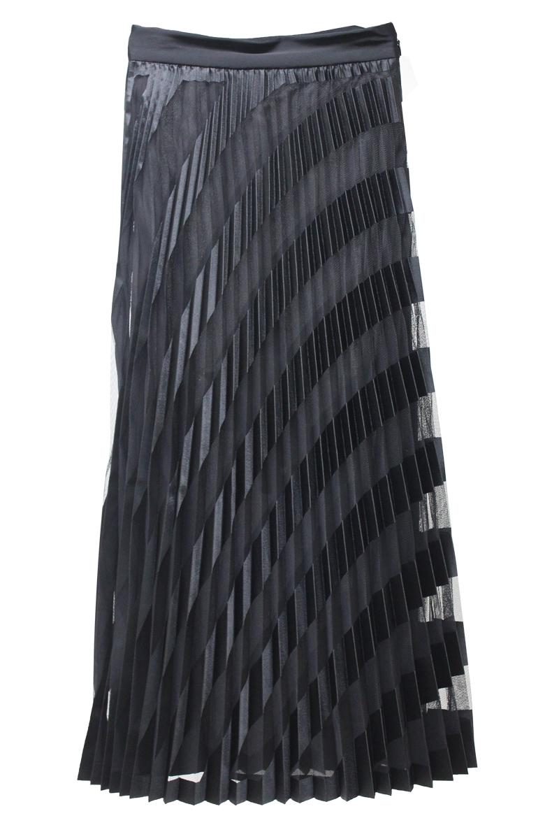 OFF-WHITE 【50%OFF】チュールバイアスストライププリーツロングスカート