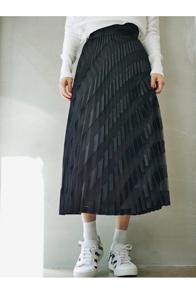 OFF-WHITE 【40%OFF】チュールバイアスストライププリーツロングスカート