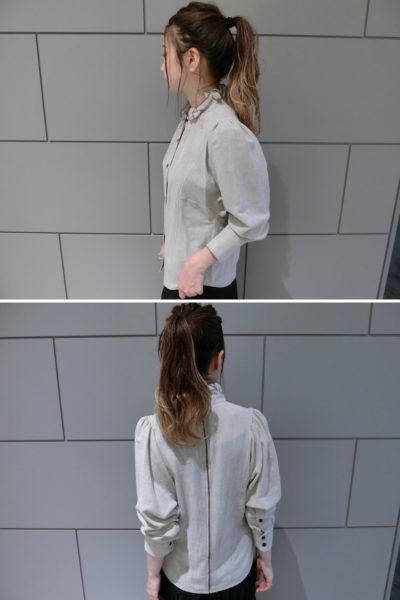 ISABEL MARANT ETOILE ビスコースウールフリルカラー長袖シャツ
