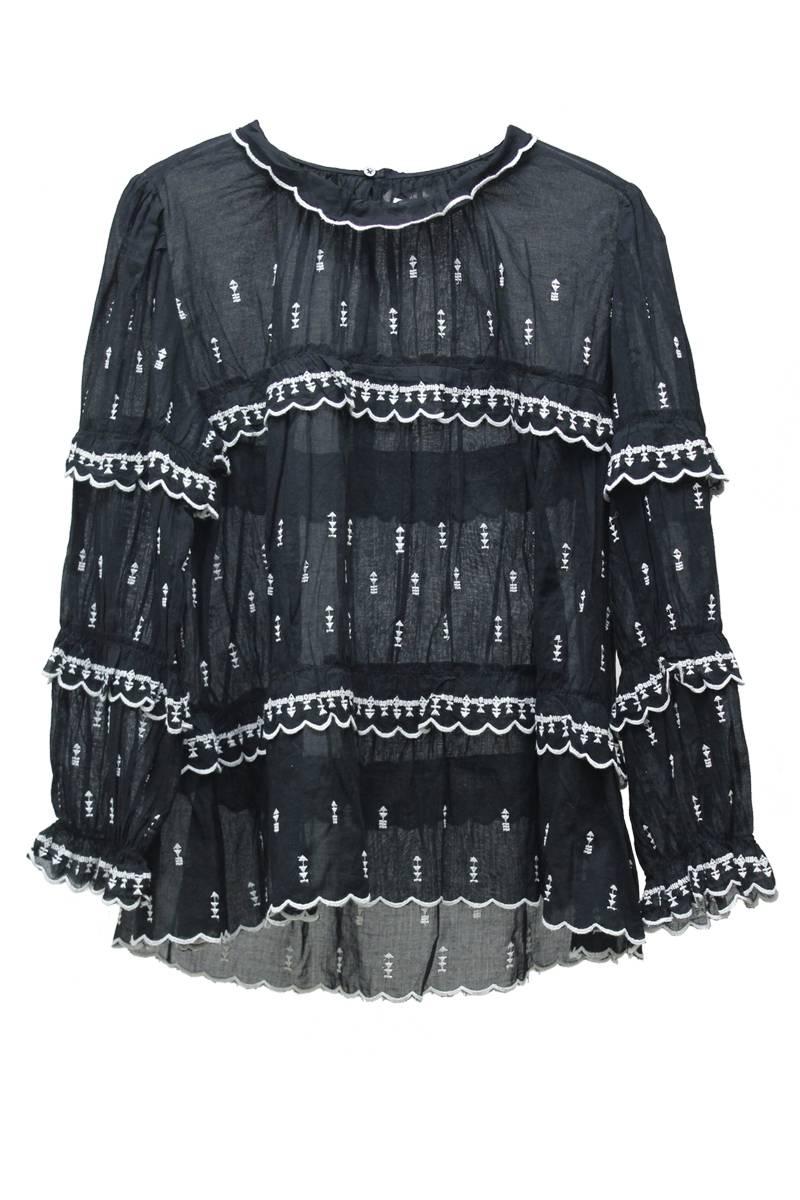 刺繍×ティアードフリル長袖ブラウス