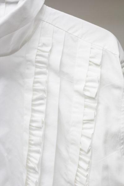 DRIES VAN NOTEN スタンドカラーフロントフリルブラウス(WHITE) [17AW]