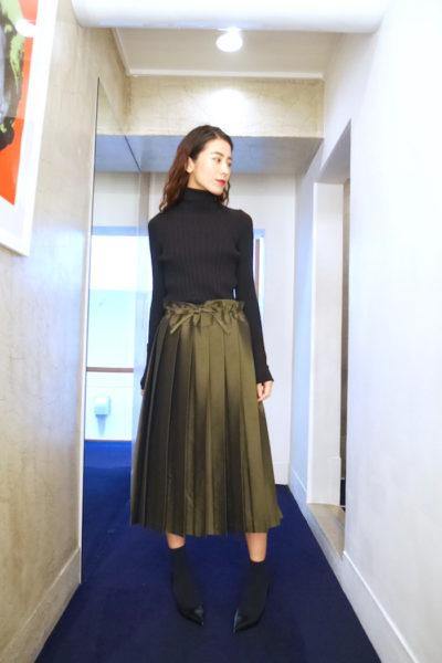 SARA LANZI キュプラウールプリーツスカート [17AW]