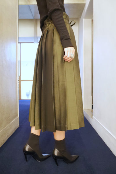 SARA LANZI 【40%OFF】キュプラウールプリーツスカート