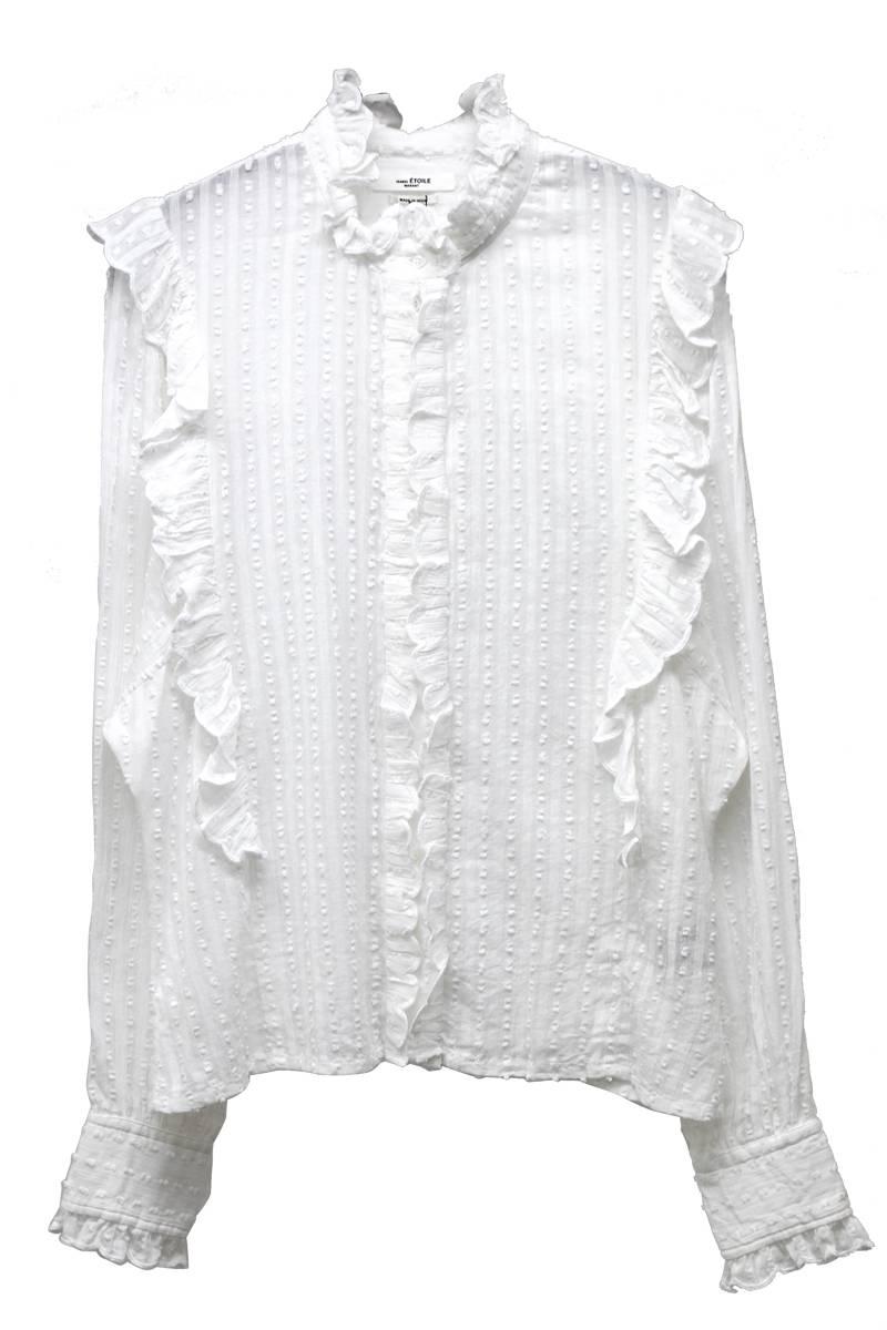 ドット刺繍サイドフリル長袖シャツ [17AW]