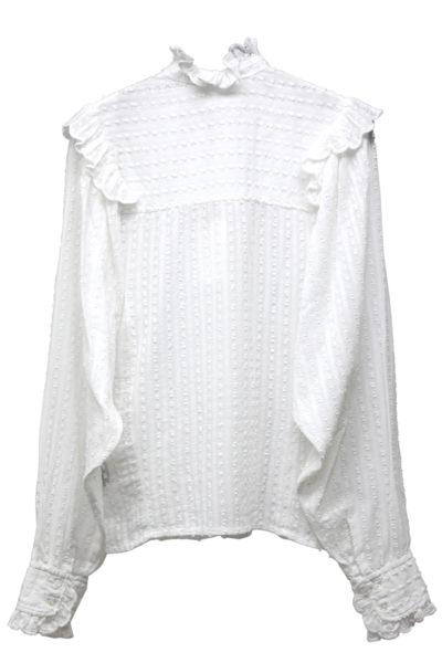 ISABEL MARANT ETOILE ドット刺繍サイドフリル長袖シャツ [17AW]