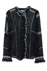 ISABEL MARANT ETOILE 【50%OFF】刺繍フリルネック長袖シャツ [17AW]