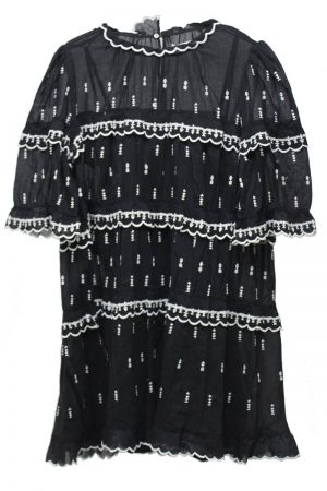 ISABEL MARANT ETOILE 刺繍ティアード半袖ミニワンピース