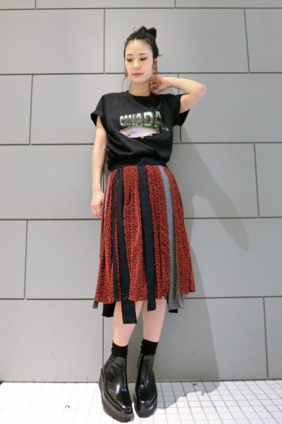 kolor フロッキー花柄×ウールコンビネーションスカート [17AW]