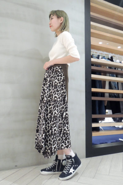 lot lamb 【40%OFF】コーデュロイ×レオパードフレアースカート [17AW]