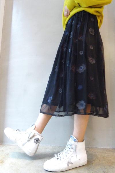 QUEENE and BELLE チュールフラワーギャザースカート [17AW]