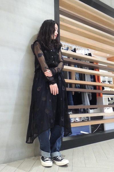 QUEENE and BELLE 【20%OFF】チュールフラワーフリルロングドレス