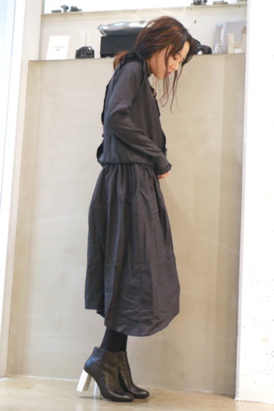 QUEENE and BELLE フランネルフリルロングドレス [17AW]
