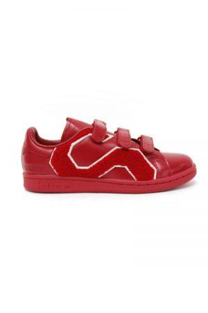 adidas by RAF SIMONS レザーベルクロスニーカー(STAN SMITH COMFORT BADGE)(RED)