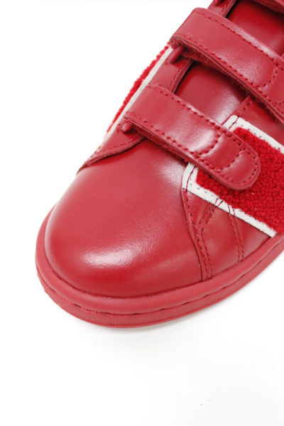 adidas by RAF SIMONS レザーベルクロスニーカー(STAN SMITH COMFORT BADGE)(RED) [17AW]