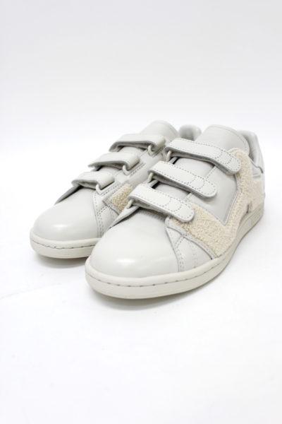 adidas by RAF SIMONS レザーベルクロスニーカー(STAN SMITH COMFORT BADGE)(IVORY) [17AW]