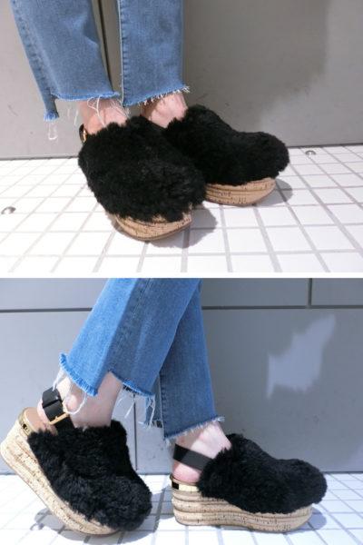 CHLOÉ 【50%OFF】ラムシェアリング厚底サンダル