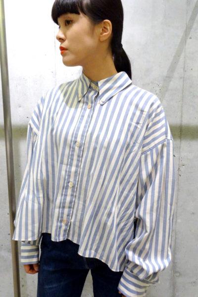 ISABEL MARANT ストライプショート丈ワイドシャツ [17AW]