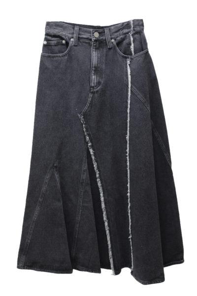 3.1 PHILLIP LIM ブラックデニムランダムシームロングスカート [17AW]