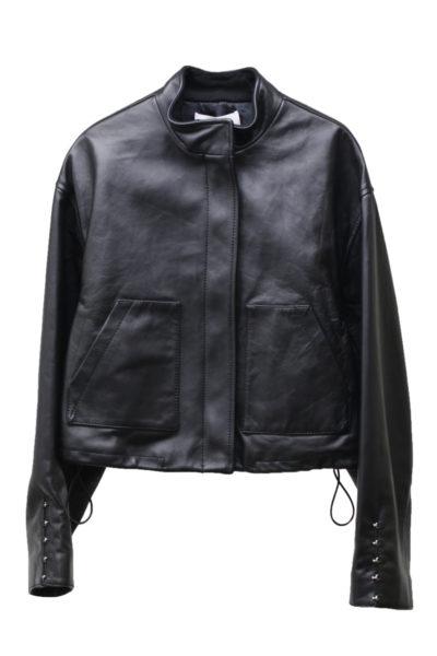 3.1 PHILLIP LIM 【40%OFF】ラムレザー袖ホックスタンドジャケット