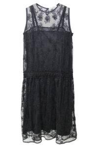 QUEENE and BELLE チュールレース刺繍ノースリーブドレス[17AW]