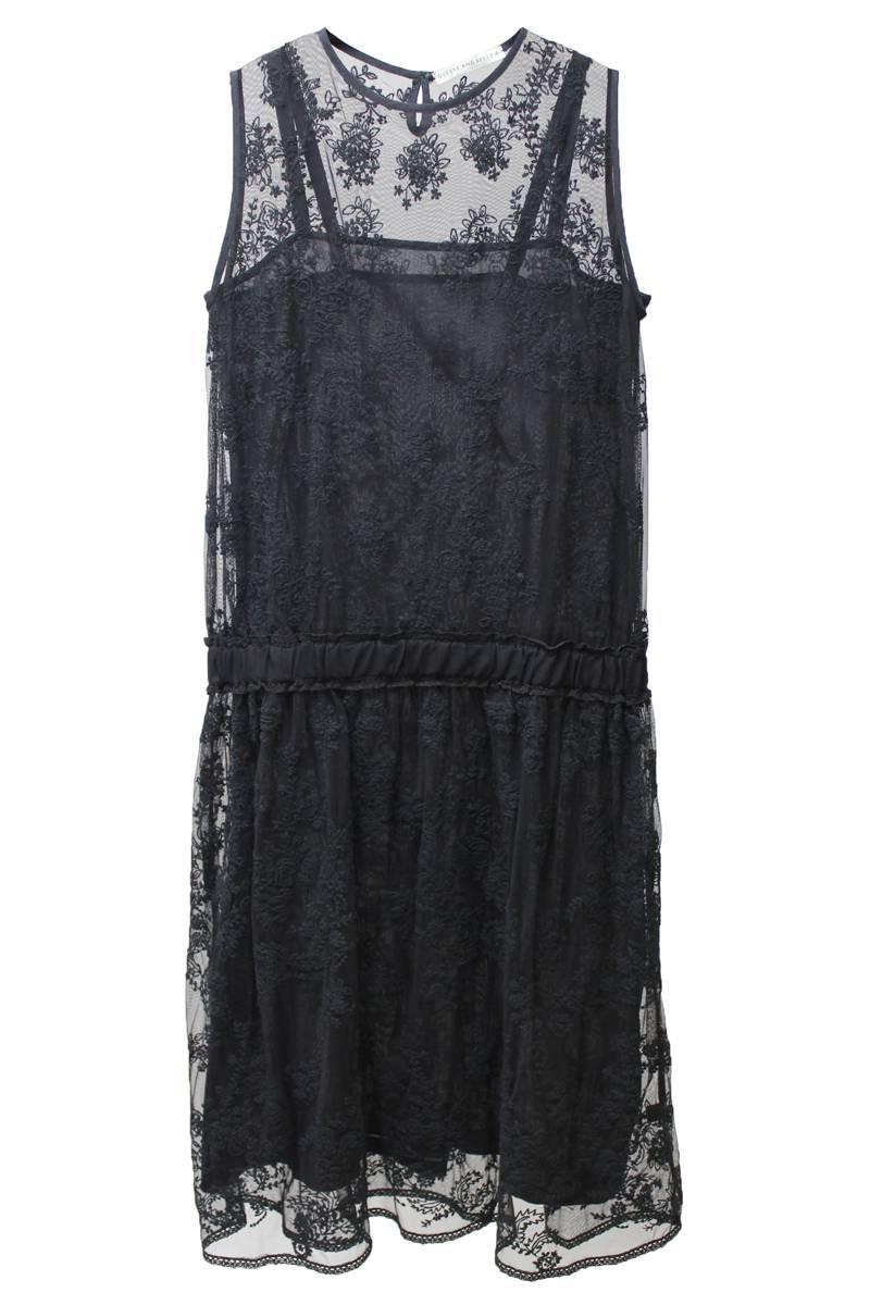 チュールレース刺繍ノースリーブドレス[17AW]