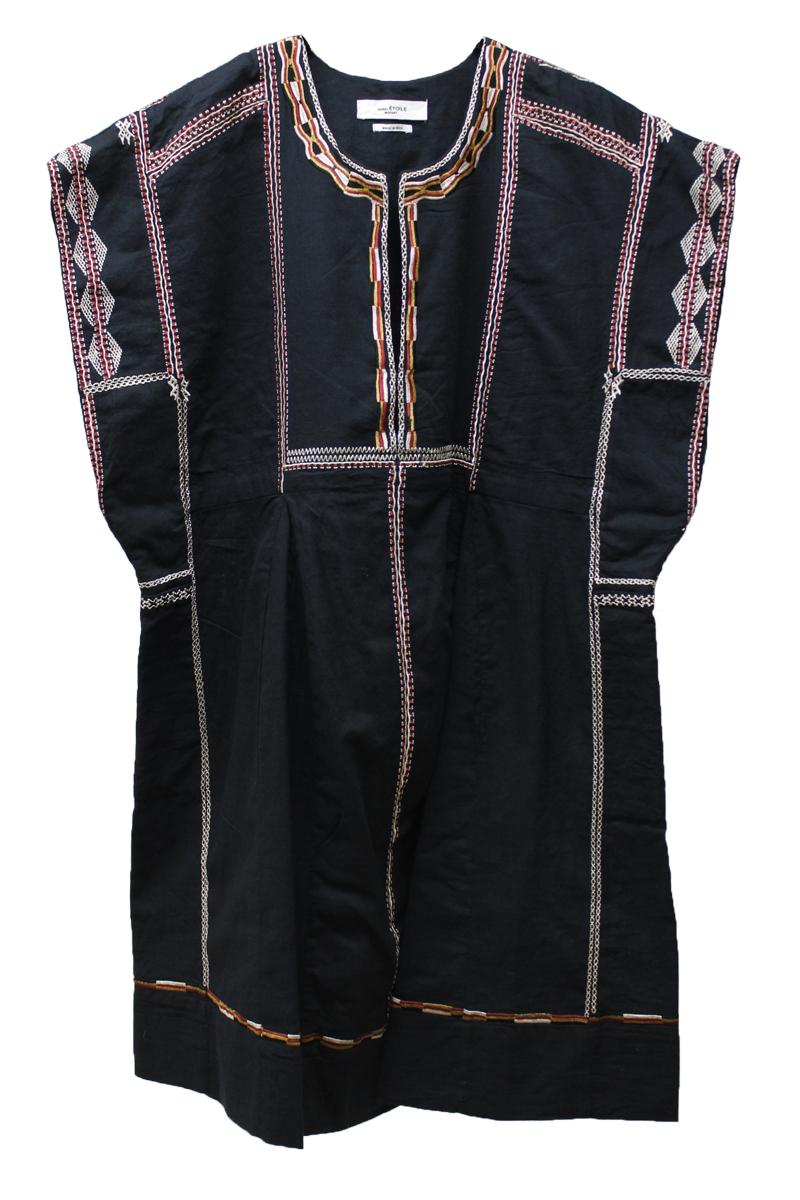 ISABEL MARANT ETOILE コットン刺繍ラインノースリーブワンピース