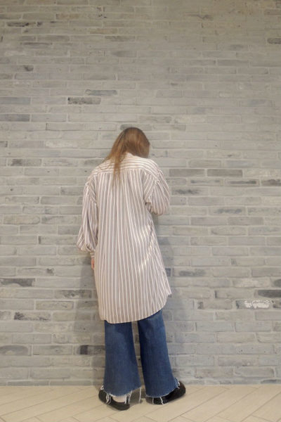 ISABEL MARANT 【40%OFF】ストライプノーカラー長袖シャツワンピース