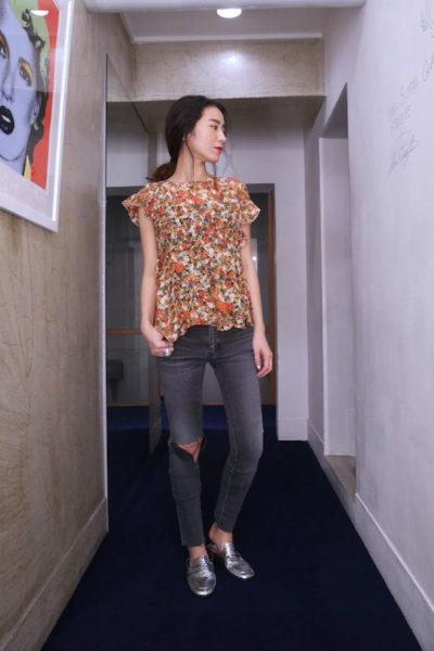 ISABEL MARANT 【40%OFF】シルクビスコース花柄サイドフリルブラウス