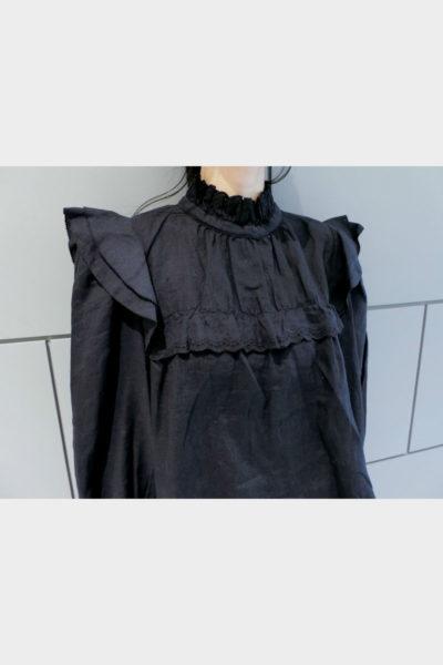 ISABEL MARANT ETOILE 【V】リネンスタンドフリル長袖ブラウス [18SS]
