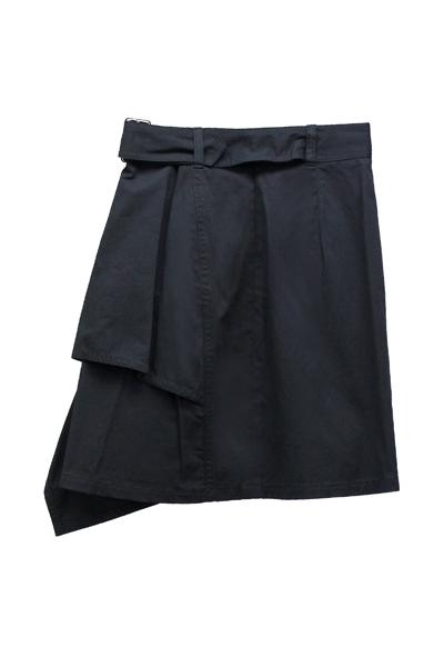 3.1 PHILLIP LIM ベルト付きコットンアシンメトリースカート