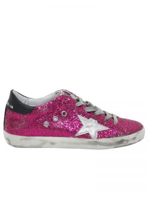 GOLDEN GOOSE DELUXE BRAND 【50%OFF】ピンクグリッターローカットスニーカー(SUPER STAR/CYCLAMINE GLITTER-SILVER  STAR)