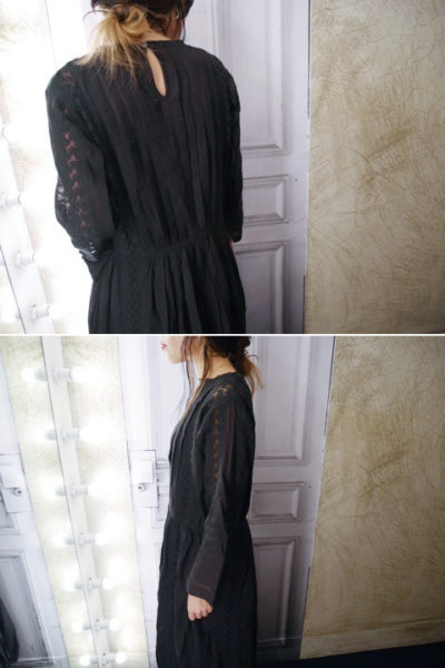 QUEENE and BELLE 【50%OFF】レース×タック長袖ロングワンピース【18SS】