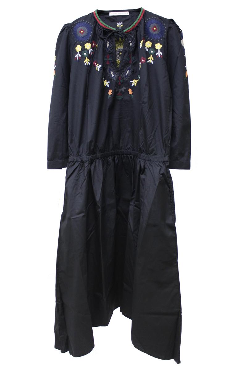 フラワー刺繍7分袖ロングワンピース【18SS】