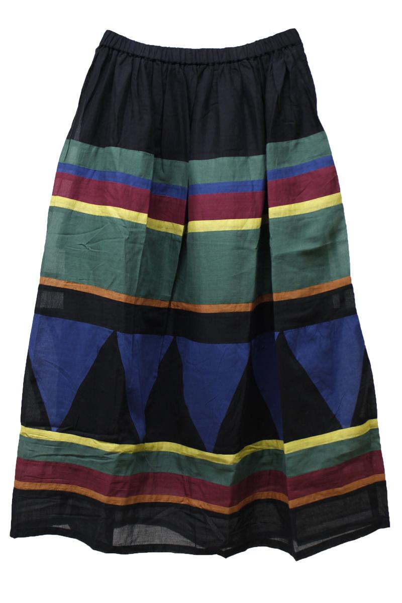 【PRE SALE – 30%OFF】コットンマルチボーダーロングスカート【18SS】