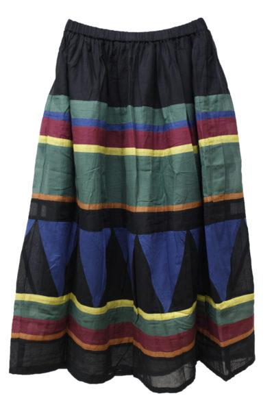 QUEENE and BELLE 【40%OFF】コットンマルチボーダーロングスカート
